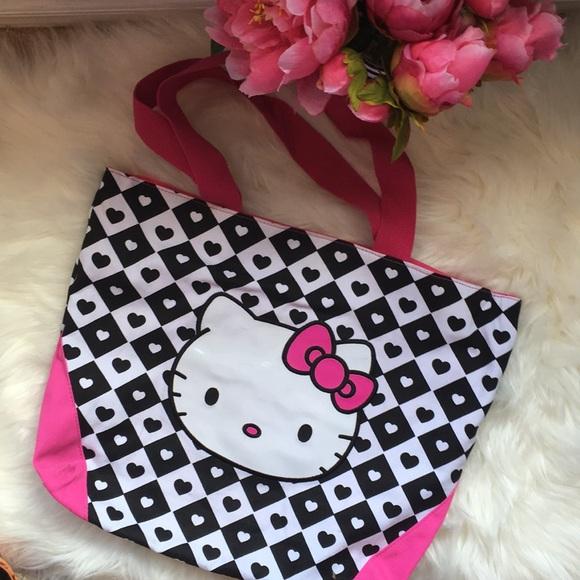 935fc3f29 Hello Kitty Bags | Black White Pink Canvas Tote Purse | Poshmark